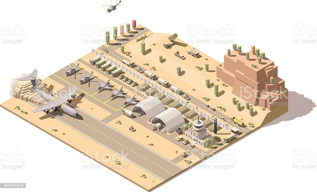 Vector isometric map of military airbase vector art illustration