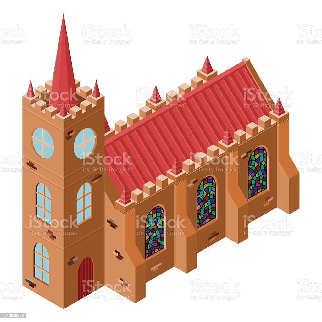 Vector isometric medieval church with stained-glass windows. vector art illustration