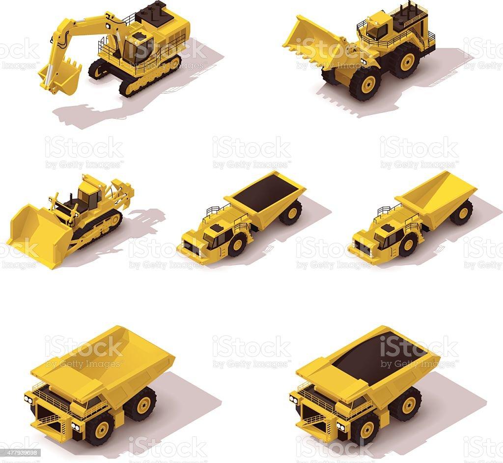 Vector isometric mining machinery set vector art illustration