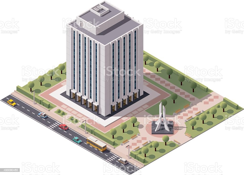 Vector isometric office building icon vector art illustration