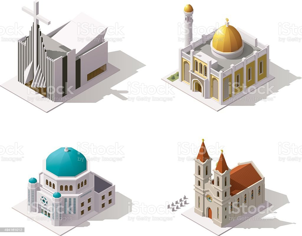 Vector isometric places of worship vector art illustration