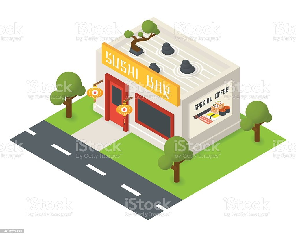 Vector isometric restaurant building icon vector art illustration
