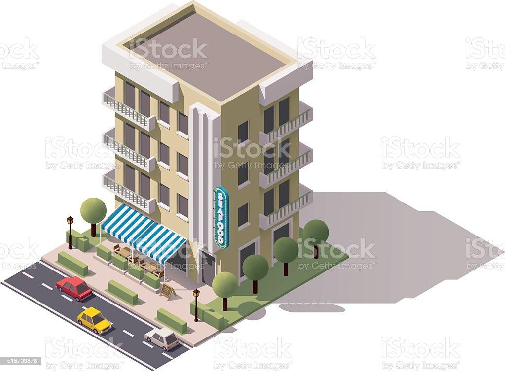 Vector isometric restaurant building vector art illustration