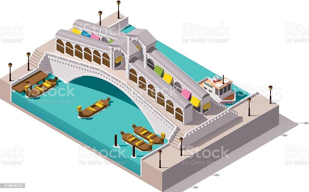 Vector isometric Rialto bridge vector art illustration