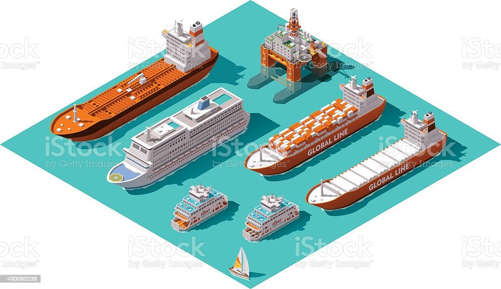 Vector isometric ships and oil rig vector art illustration