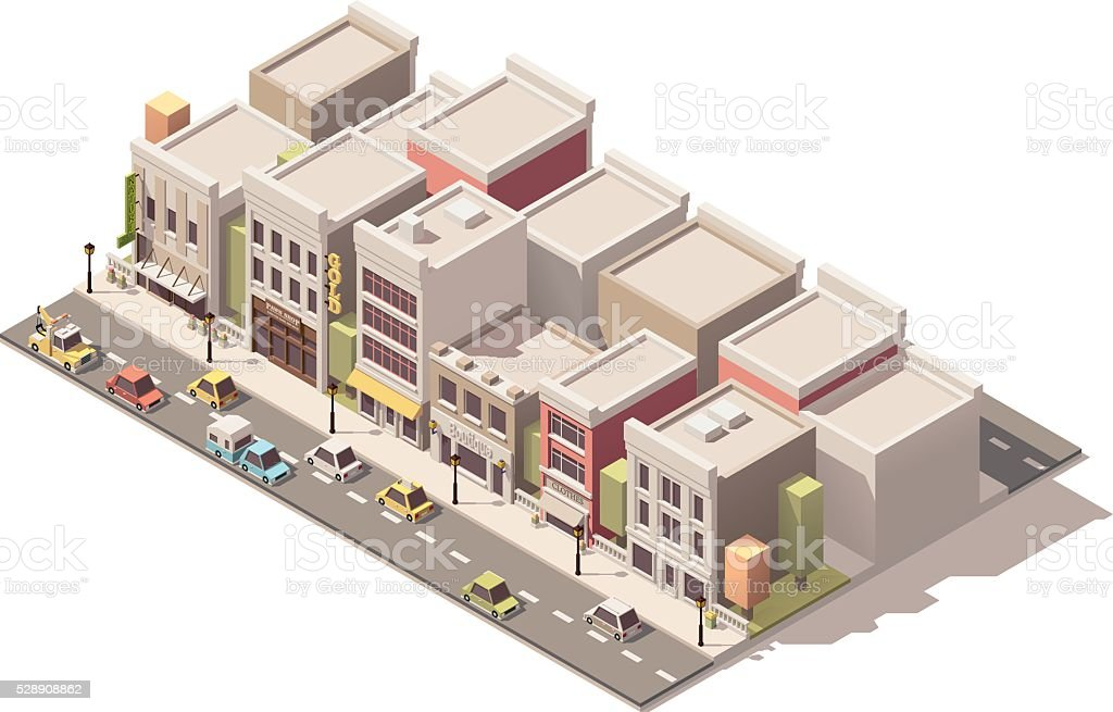 Vector isometric small town street vector art illustration