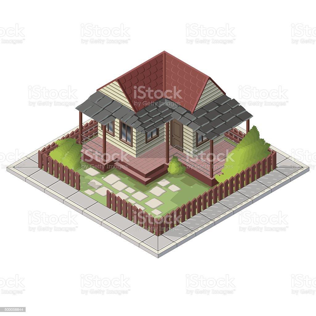 vector isometric summer house backyard building stock vector art