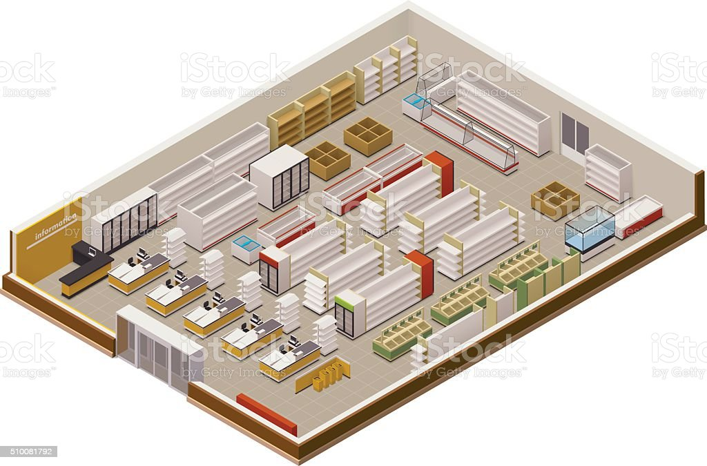 Vector isometric supermarket cutaway vector art illustration