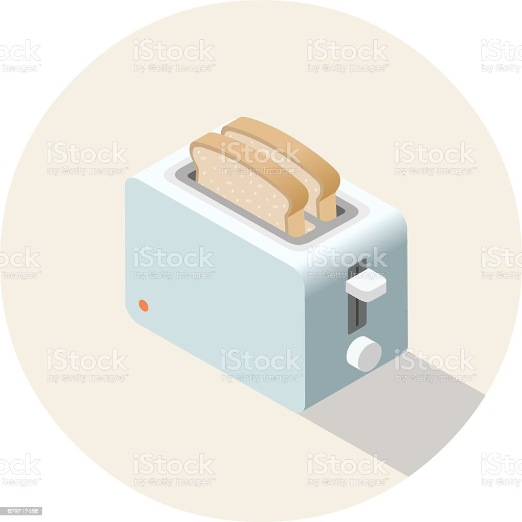 Vector isometric toaster, kitchen equipment icon vector art illustration