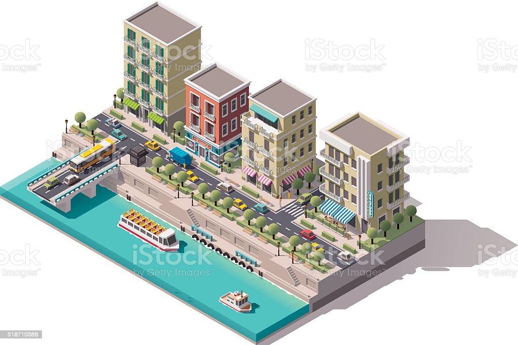 Vector isometric town street vector art illustration
