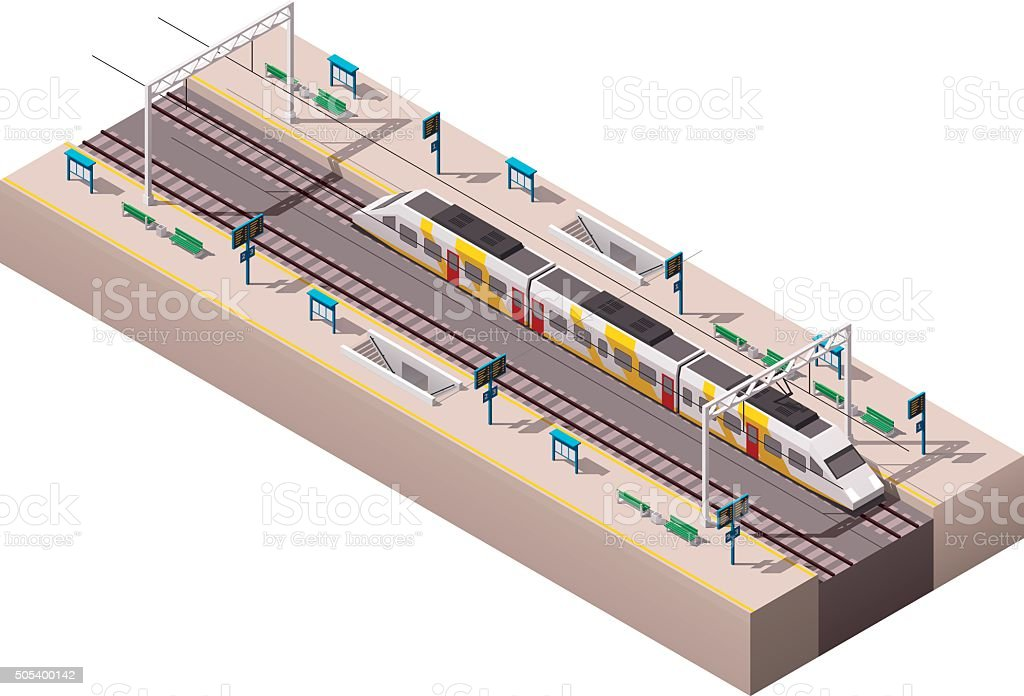 Vector isometric train station vector art illustration