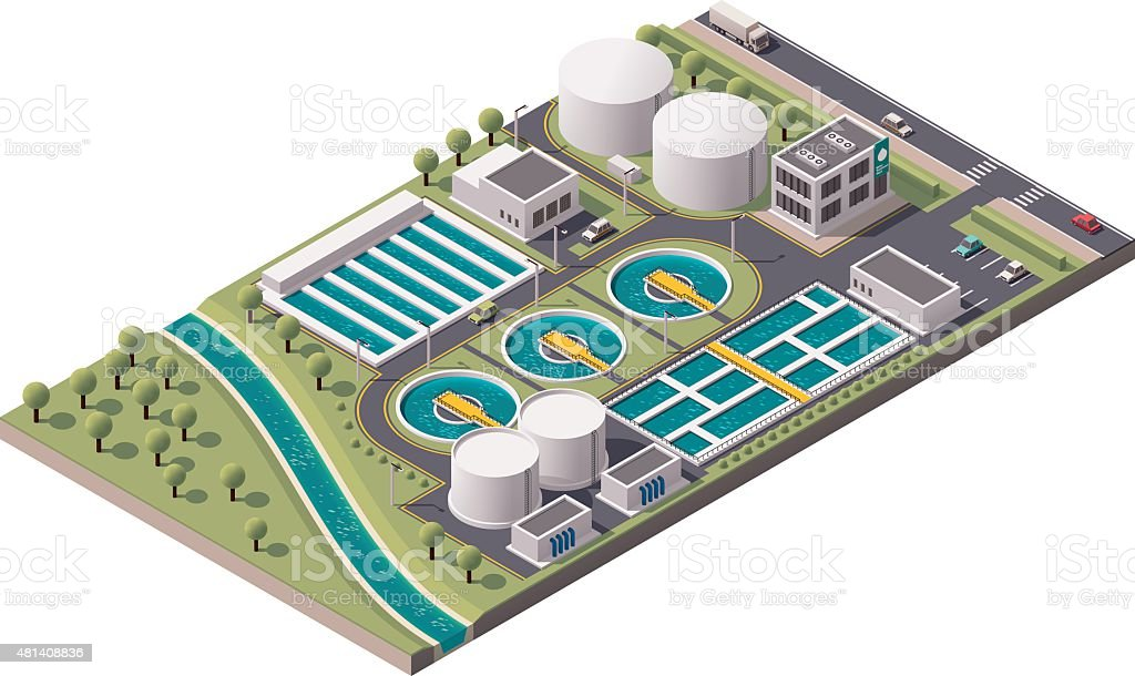 Vector isometric water treatment plant vector art illustration