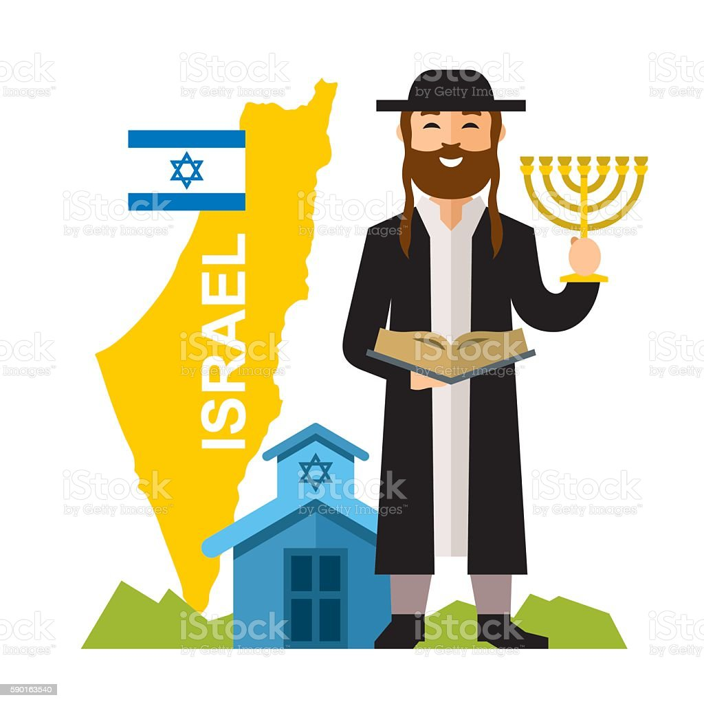 Vector Israel Country Concept. Flat style colorful Cartoon illustration. vector art illustration