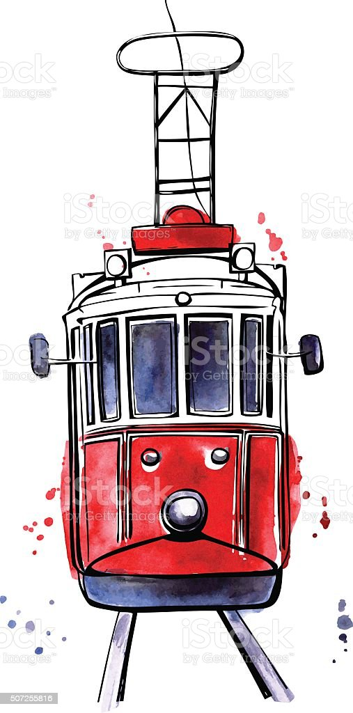 Vector Istanbul tram with colorful stains vector art illustration