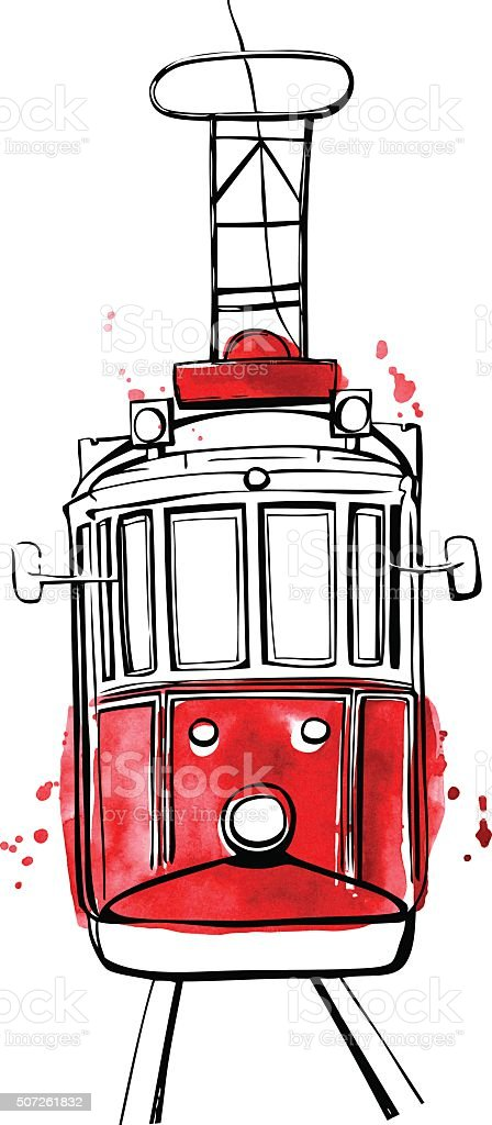 Vector Istanbul tram with red stains vector art illustration