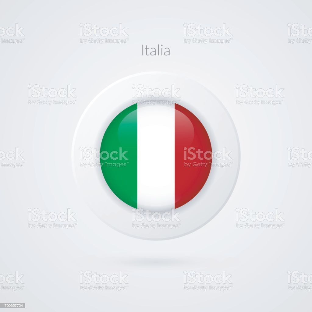 Vector Italian flag sign. Isolated Italy circle symbol. European country illustration icon for presentation, project, advertisement, sport event, travel, concept, web design, badge vector art illustration