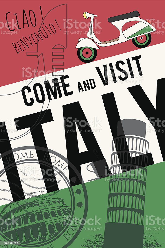 vector italy travel invitation poster vector art illustration