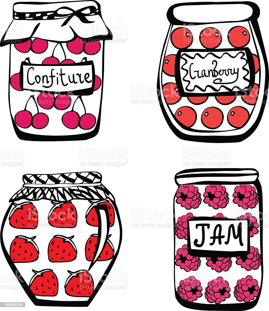Vector jam jars with colorful berries. vector art illustration