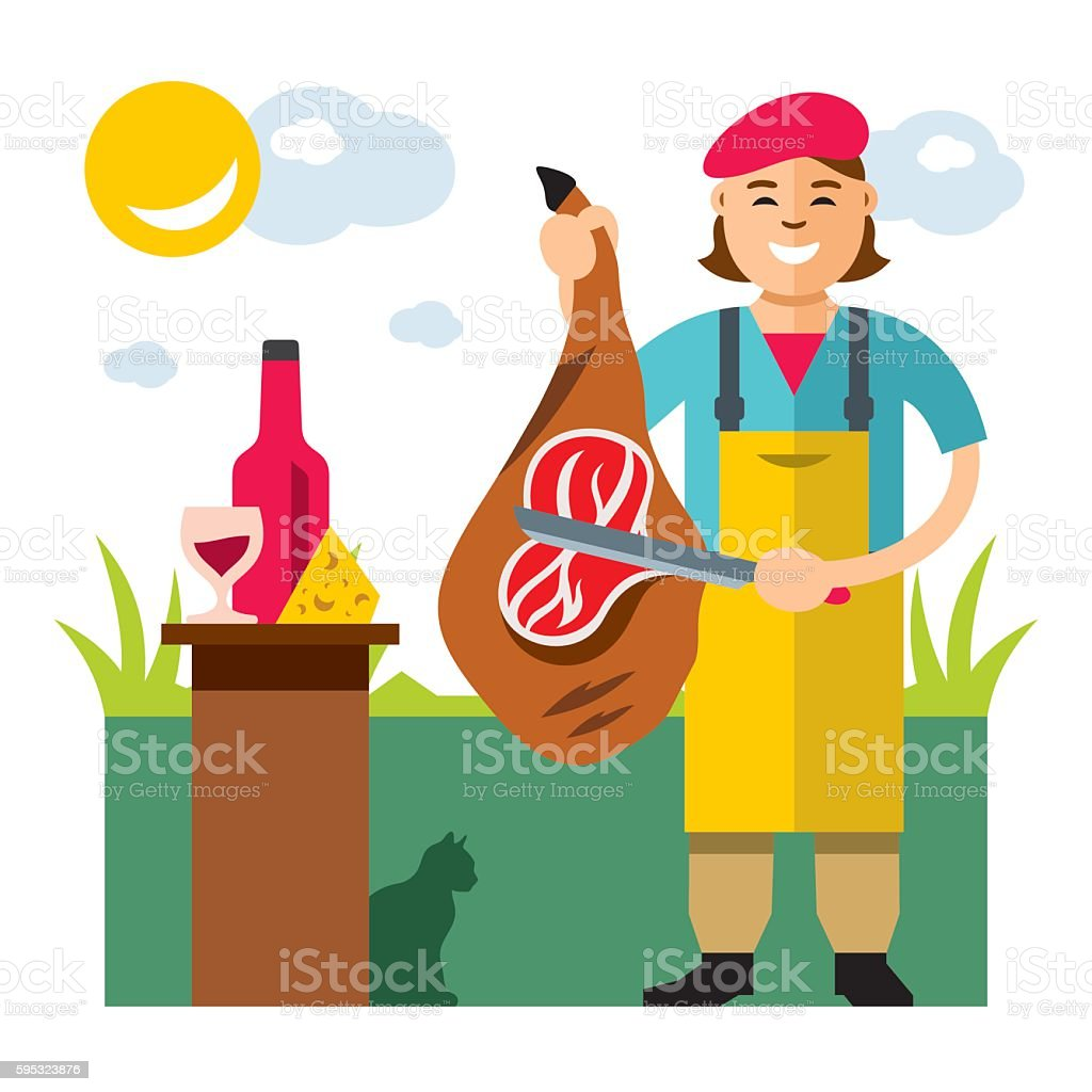 Vector Jamon Butcher Shop. Flat style colorful Cartoon illustration. vector art illustration