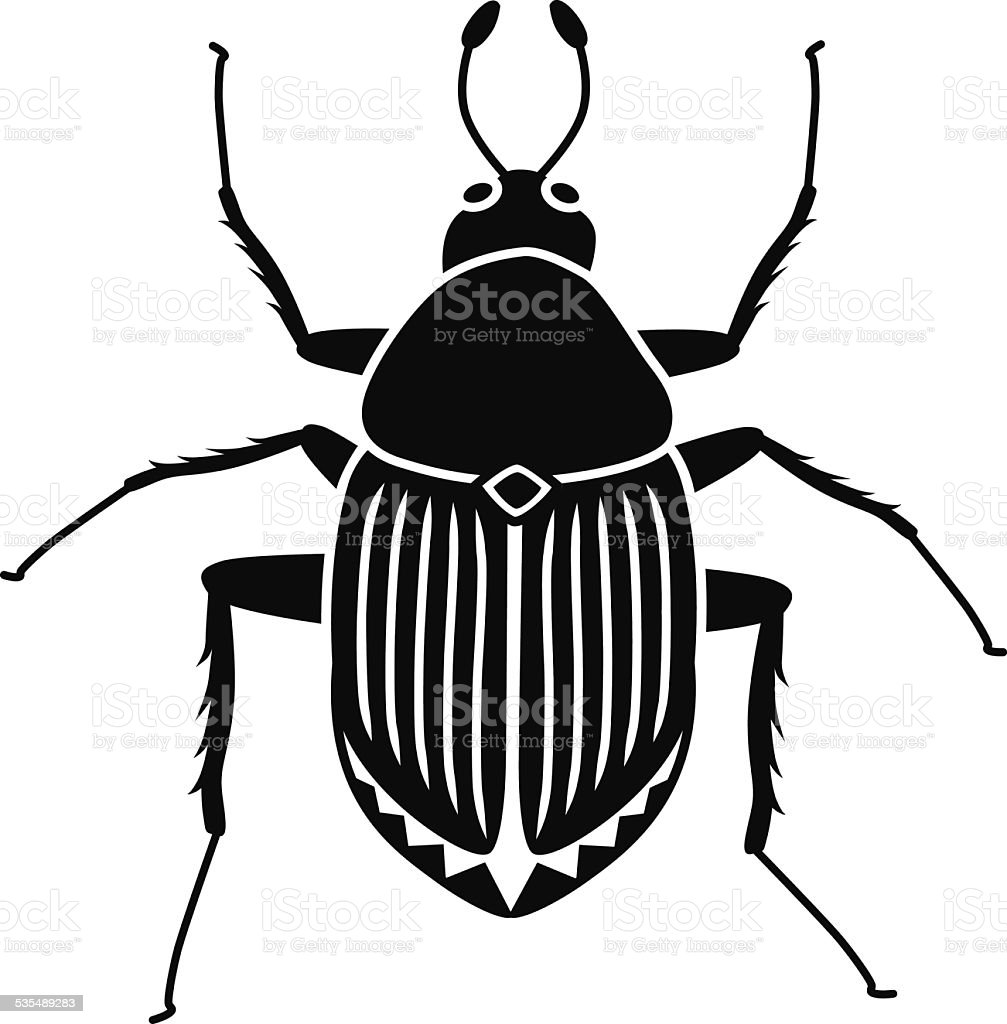 vector Japanese beetle in black and white vector art illustration