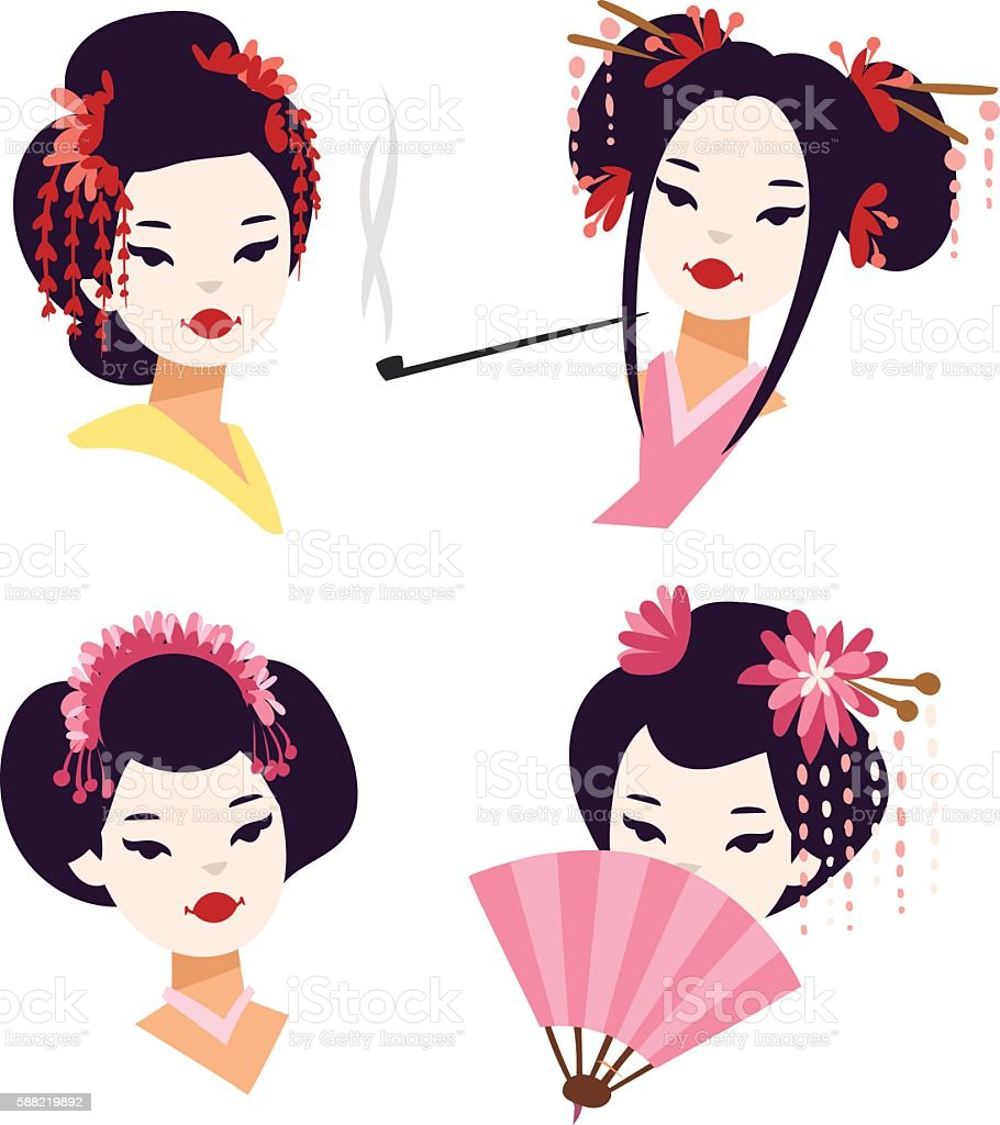 Vector japanese geisha girl vector art illustration