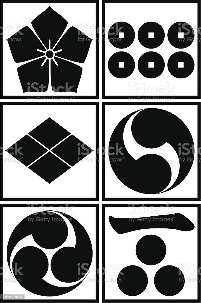 vector - Japanese traditional pattern set vector art illustration