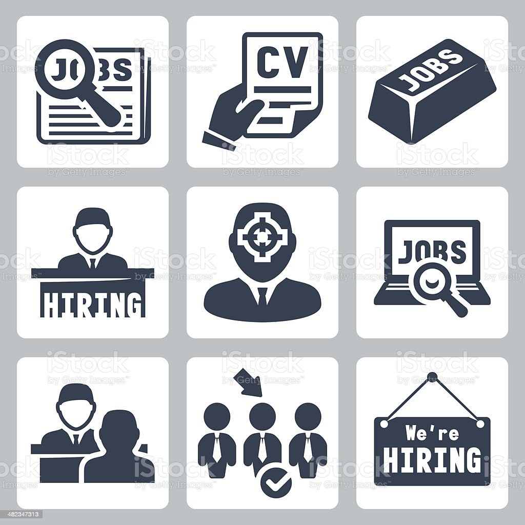 Vector job hunting, job search, human resources icons set vector art illustration