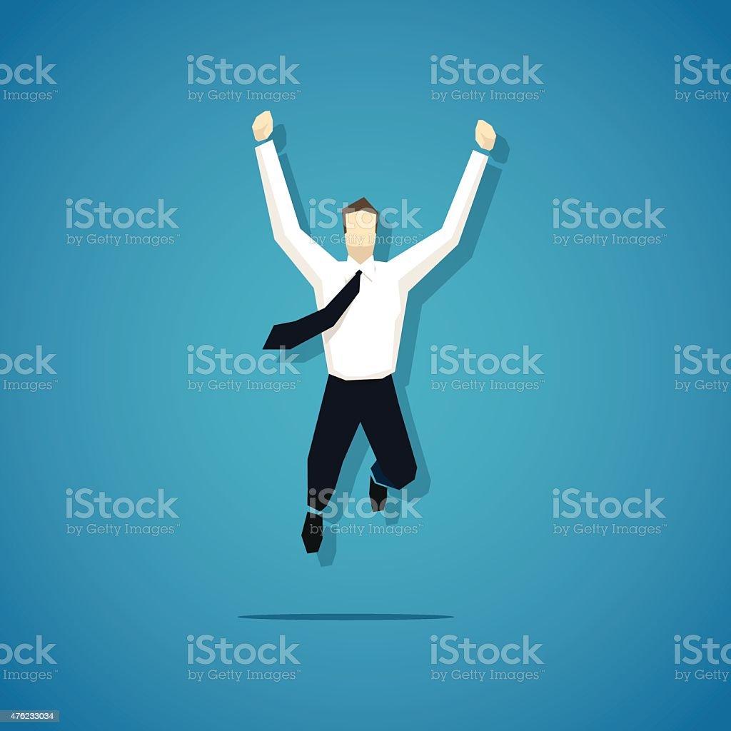 Vector joyful businessman is jumping isolated vector art illustration