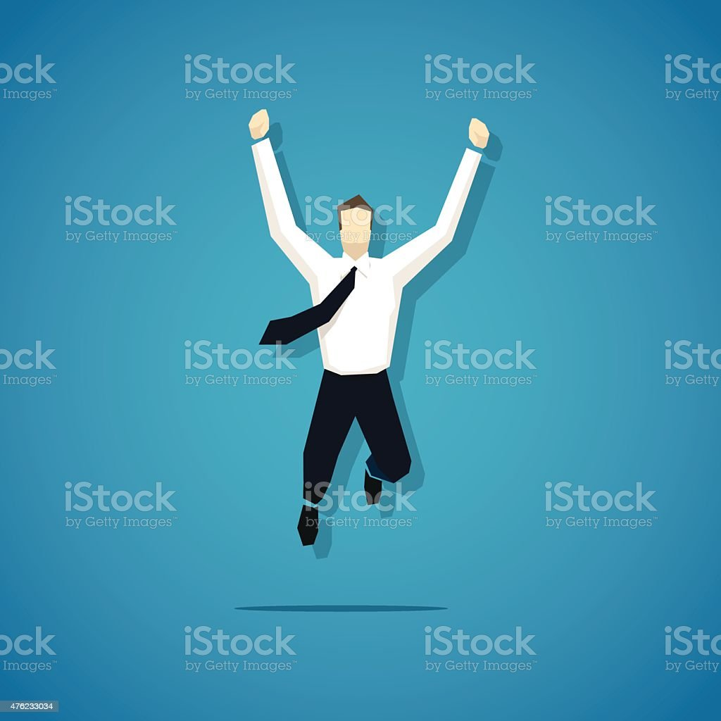 Vector joyful businessman is jumping isolated vector art illustration