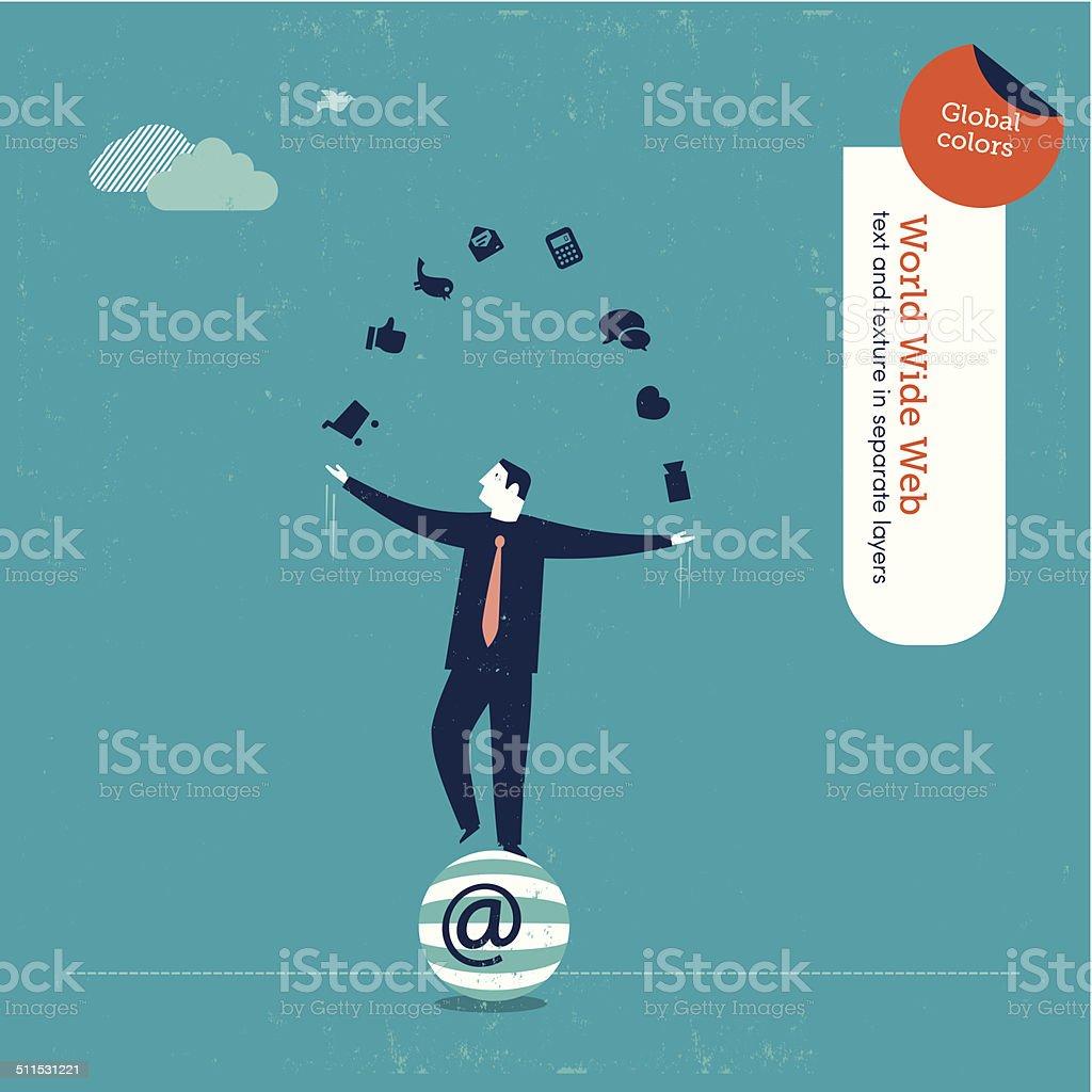 Vector juggler with internet icons vector art illustration