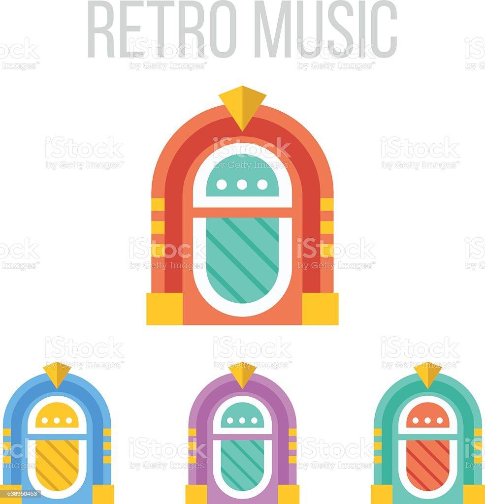 Vector jukebox icons vector art illustration