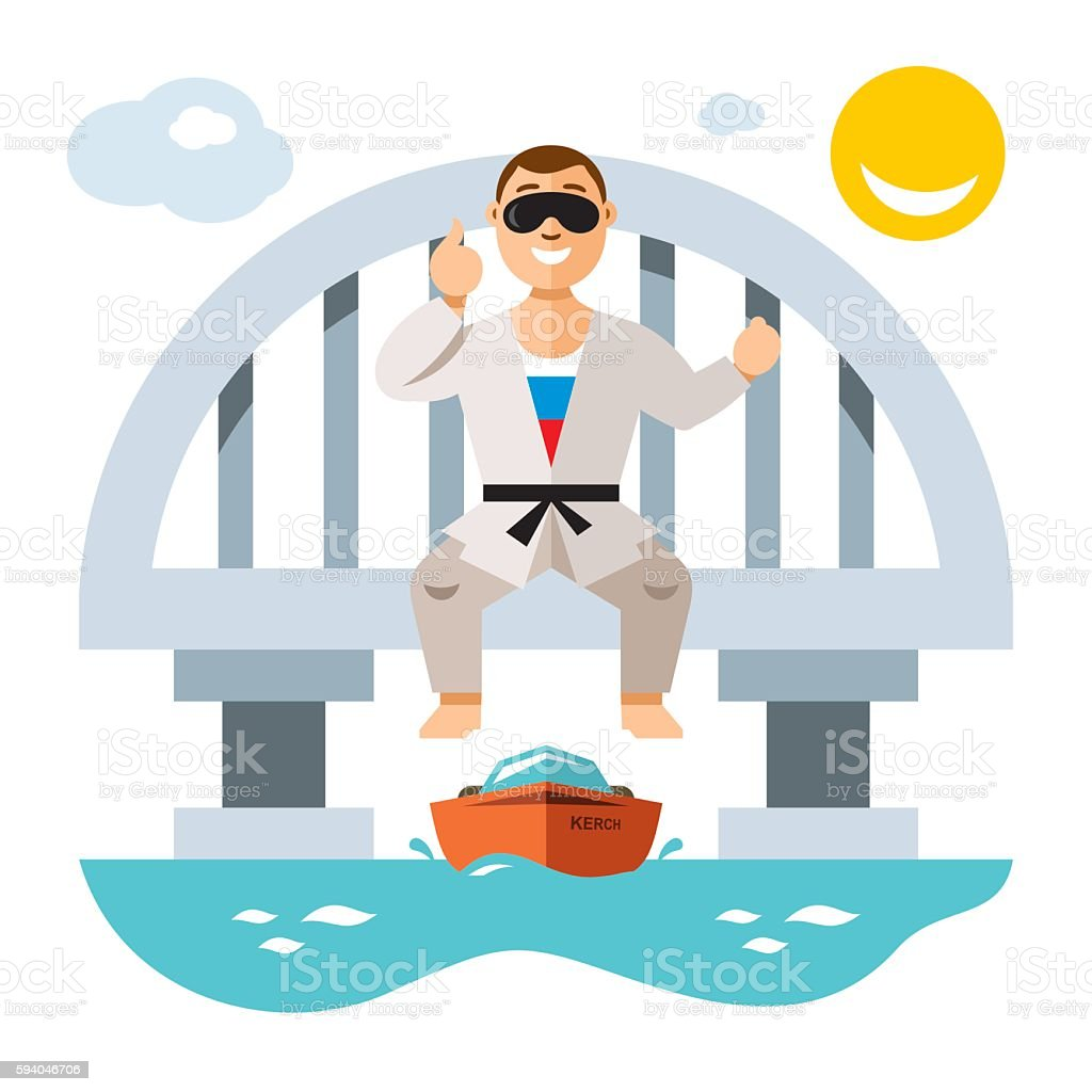 Vector Jumper from the bridge. Flat style colorful Cartoon illustration. vector art illustration