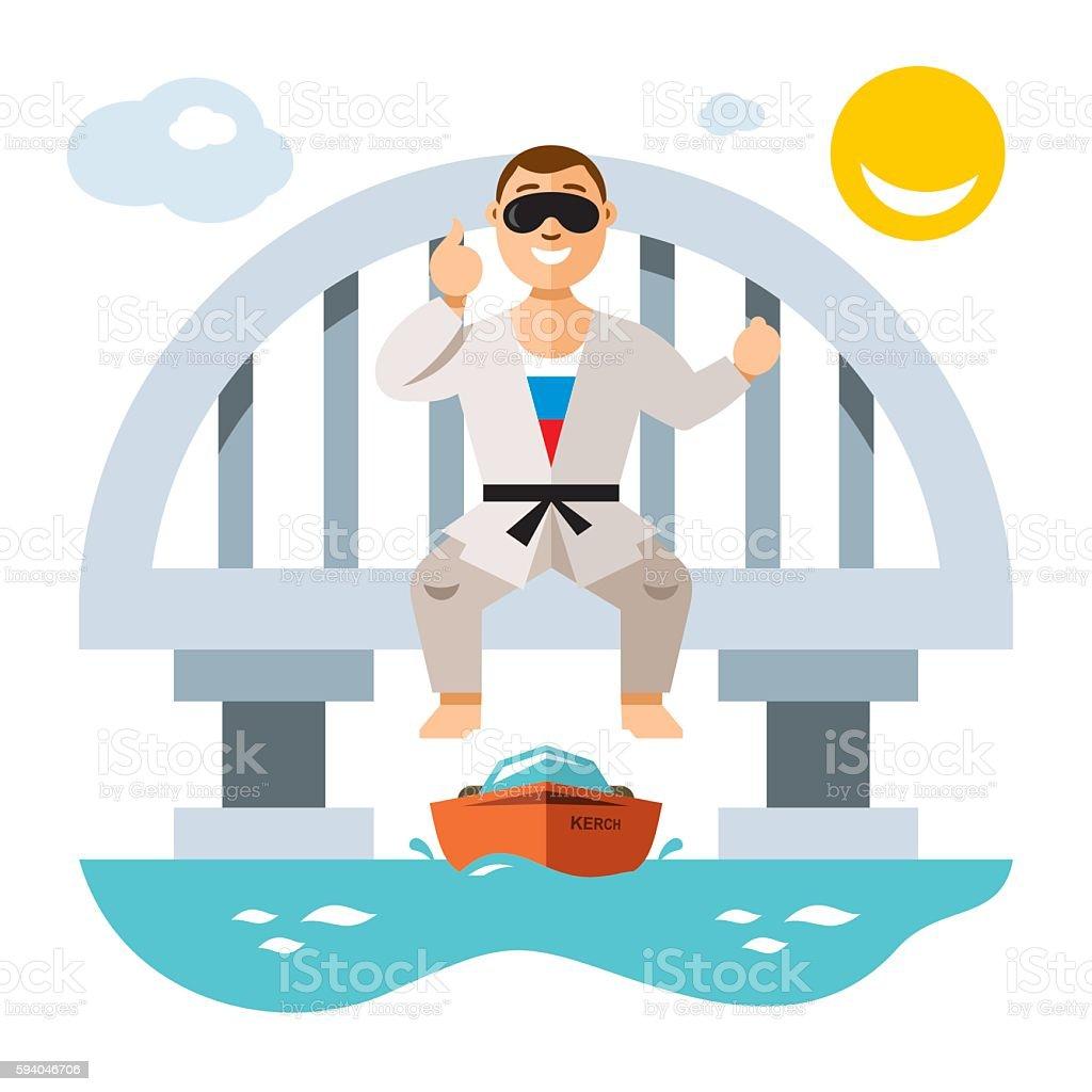 Vector Jumper from the bridge. Flat style colorful Cartoon illustration. vector art illustration
