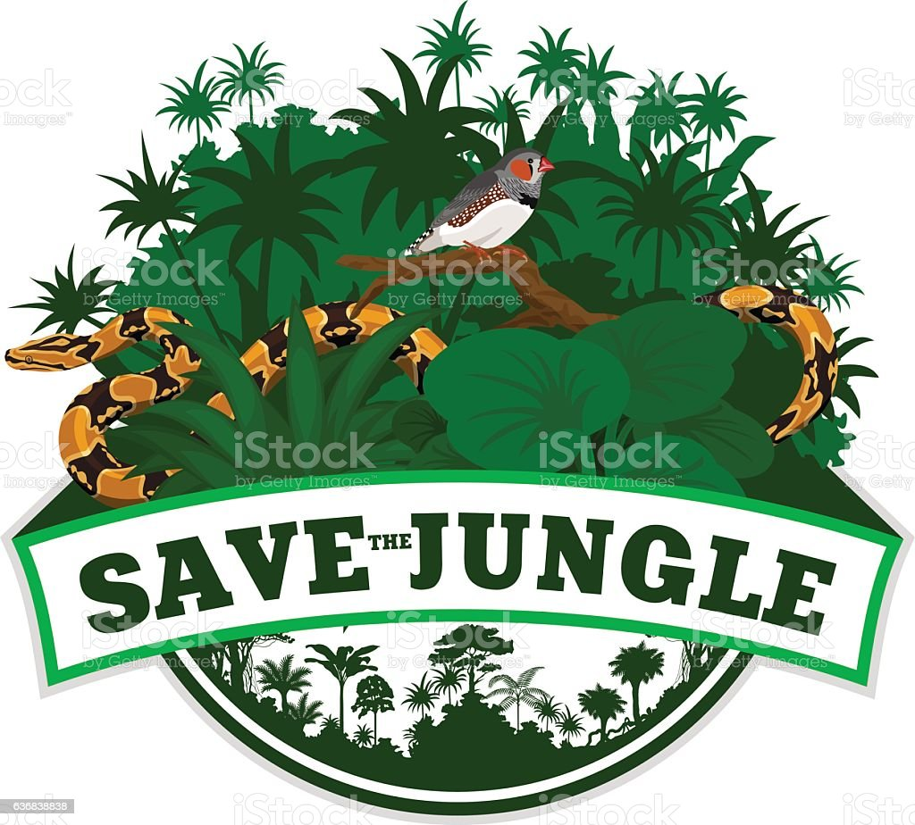 Vector Jungle Emblem with python and  Zebra Finch vector art illustration