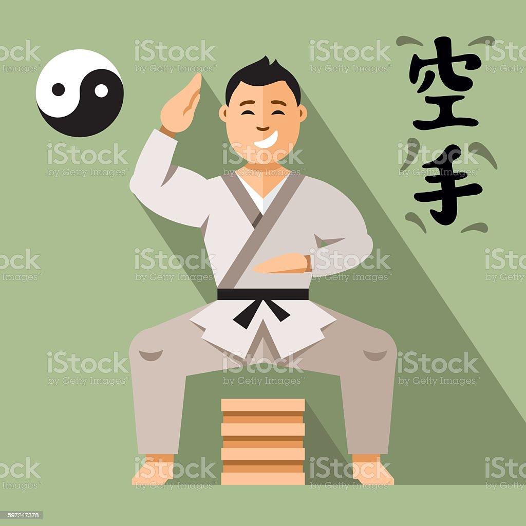Vector Karate Fighter. Flat style colorful Cartoon illustration. vector art illustration