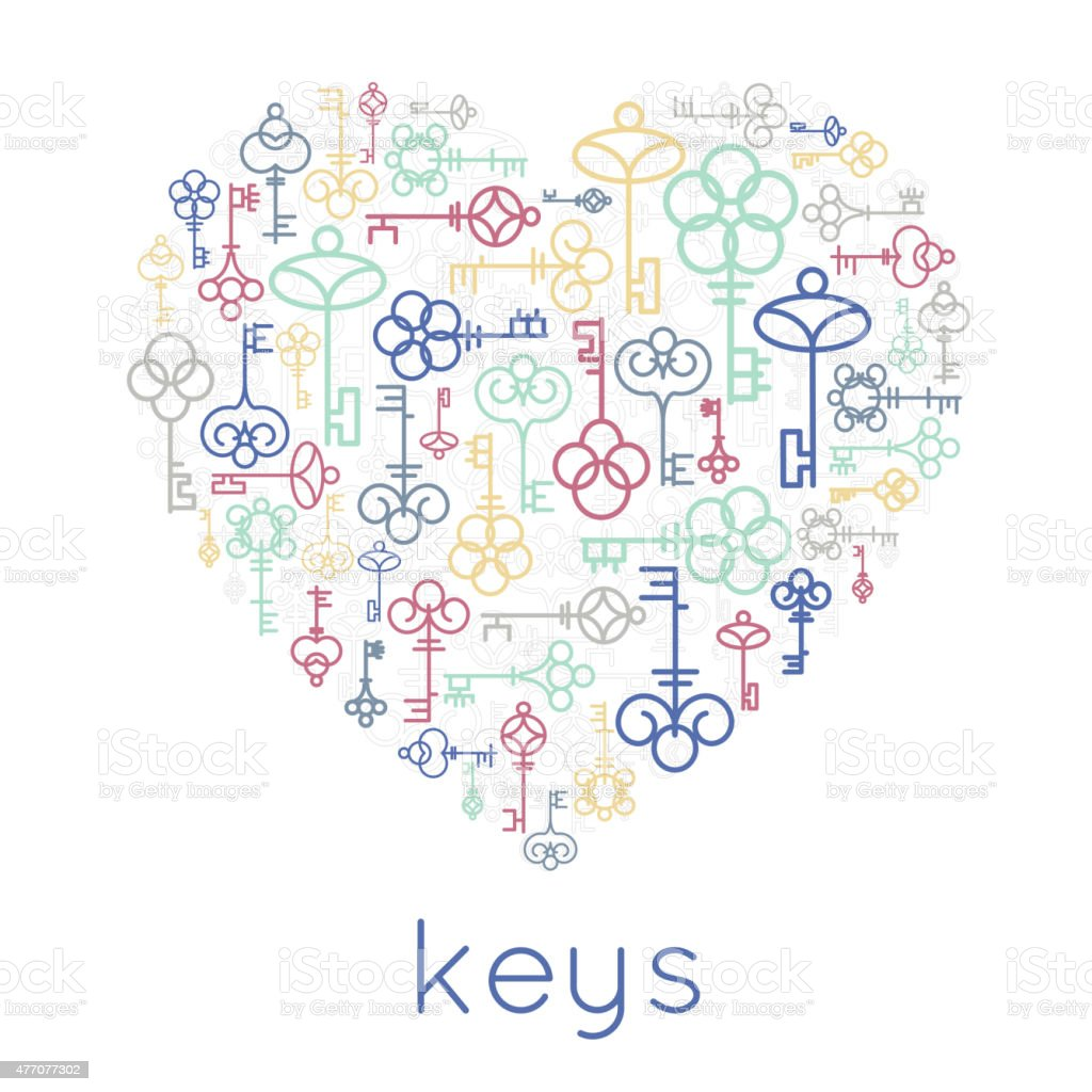 Vector keys heart badge vector art illustration