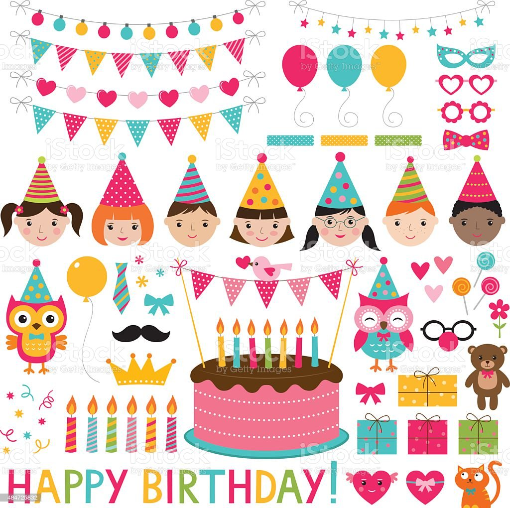 Vector kids birthday party set vector art illustration