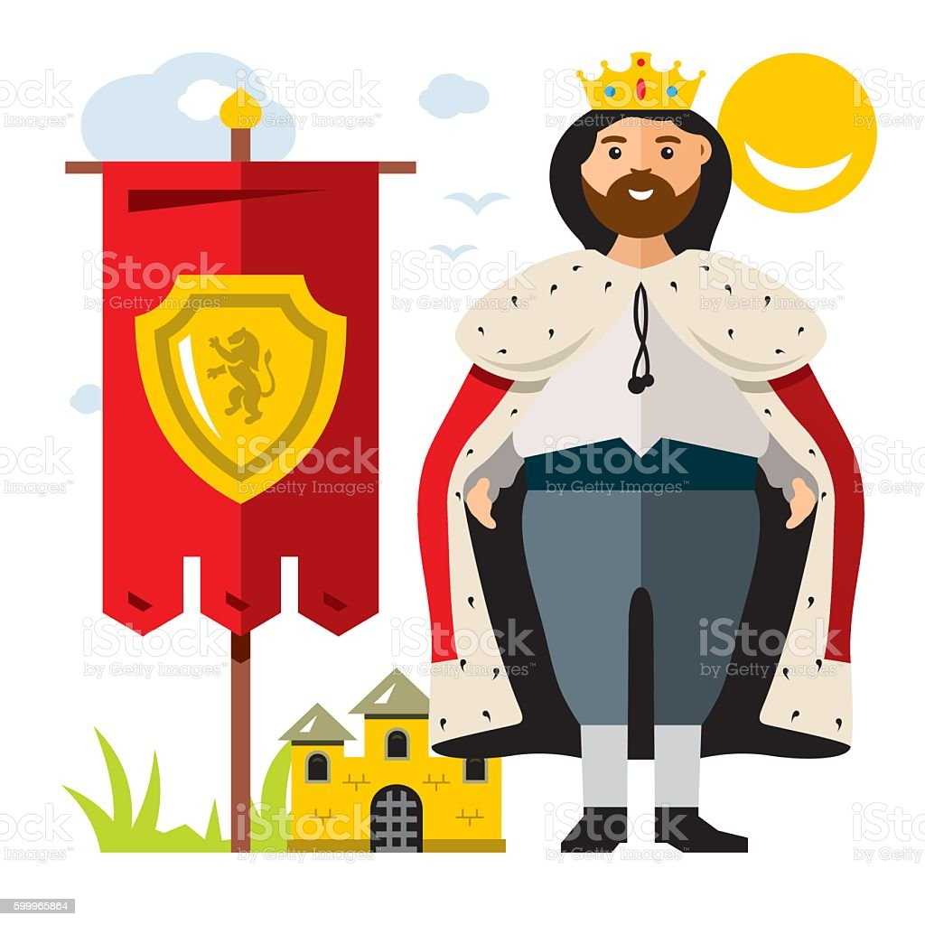 Vector King. Flat style colorful Cartoon illustration. vector art illustration