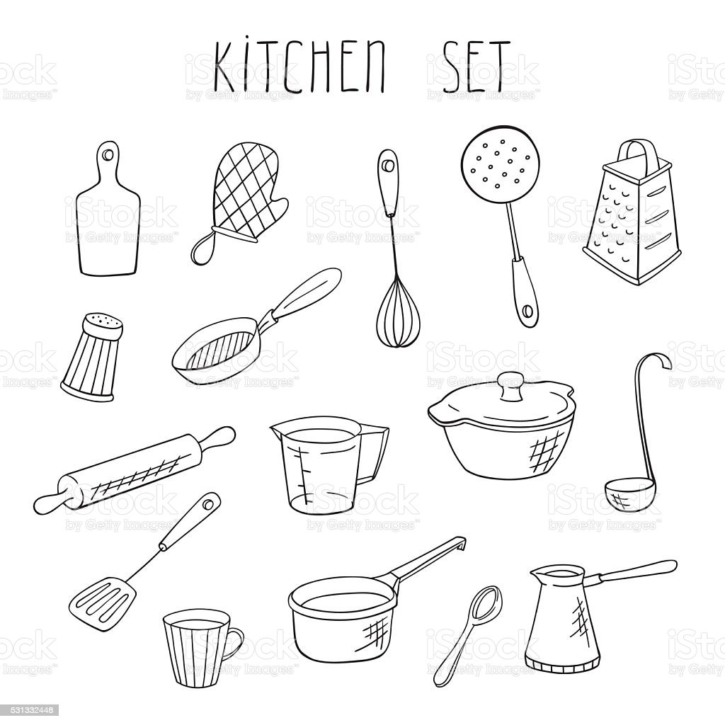 Restaurant Kitchen Hand vector kitchen hand drawn set stock vector art 531332448 | istock
