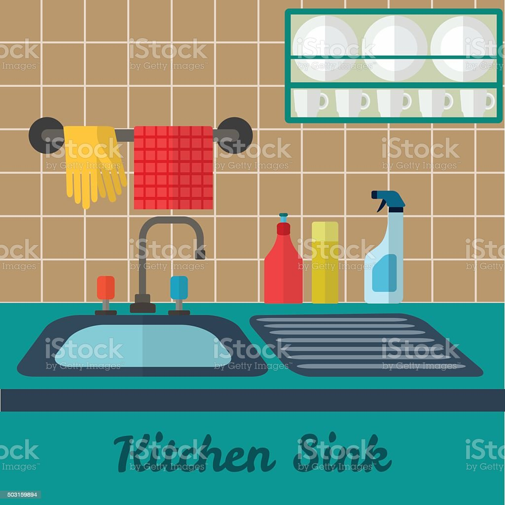kitchen counter clip art, vector images & illustrations - istock