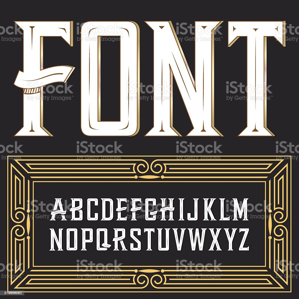 Vector label font with ornament vector art illustration