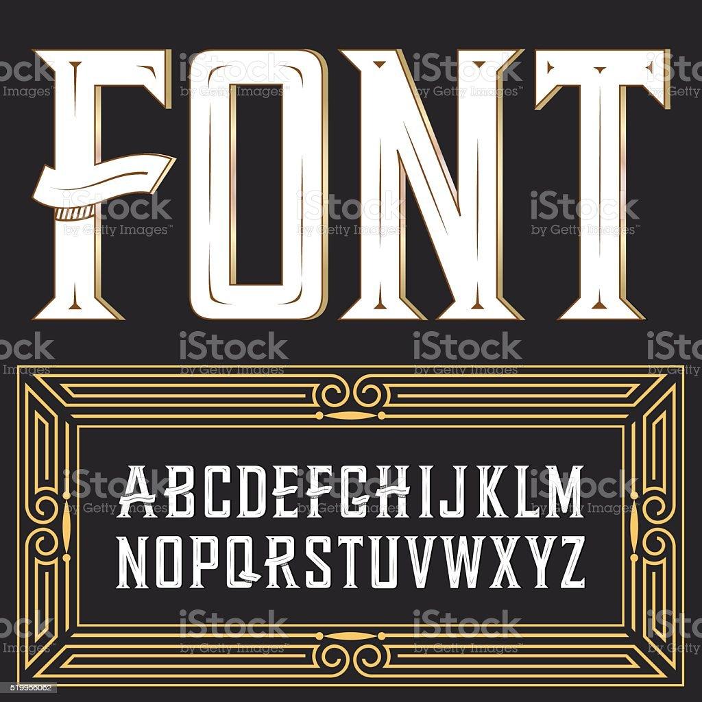 Vector label font with ornament vector art illustration