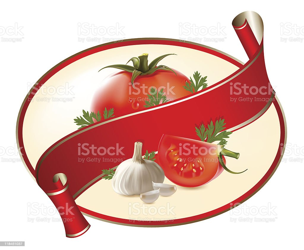 Vector. Label for a product (ketchup, sauce) vector art illustration