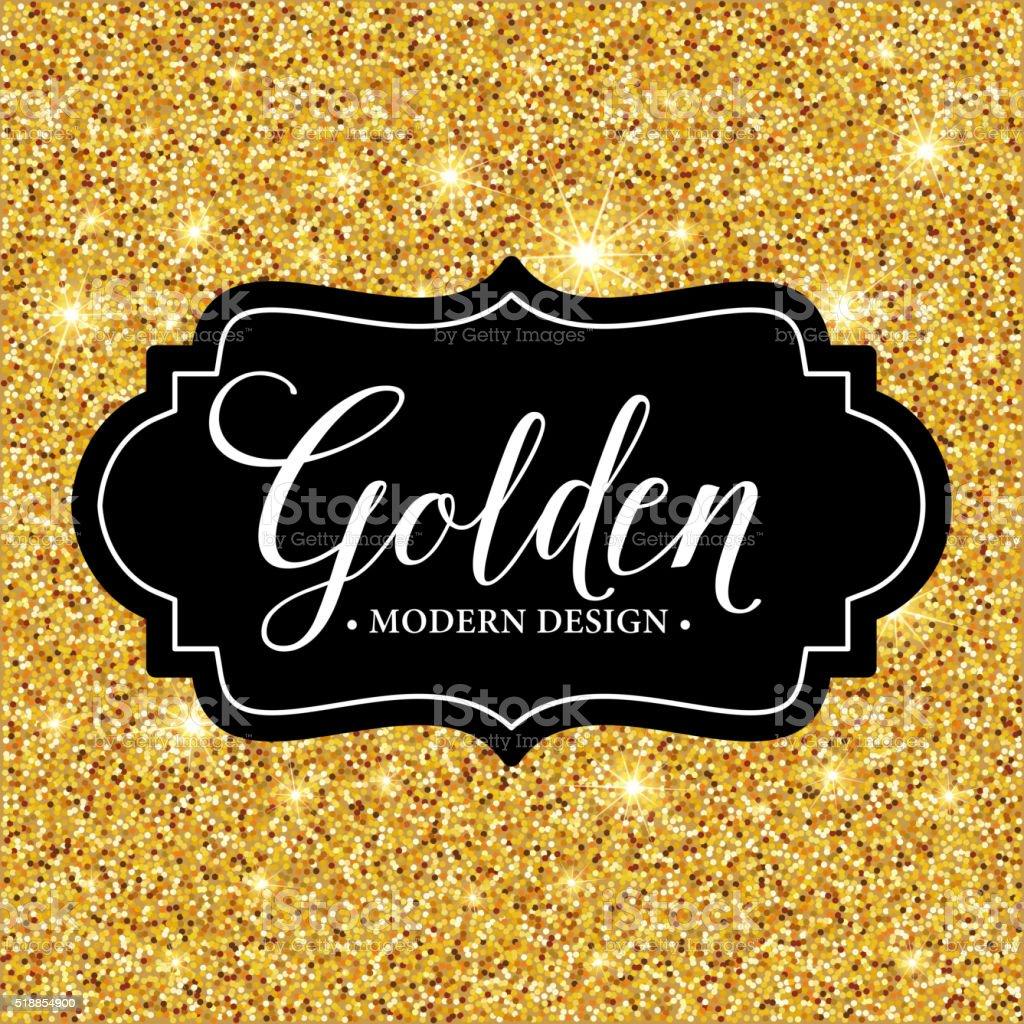 Vector label frame silhouette on the gold glitter background vector art illustration