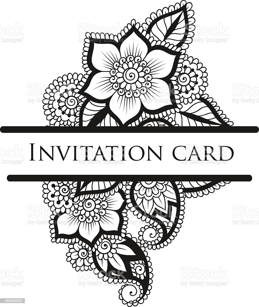 Vector lace invitation card. vector art illustration