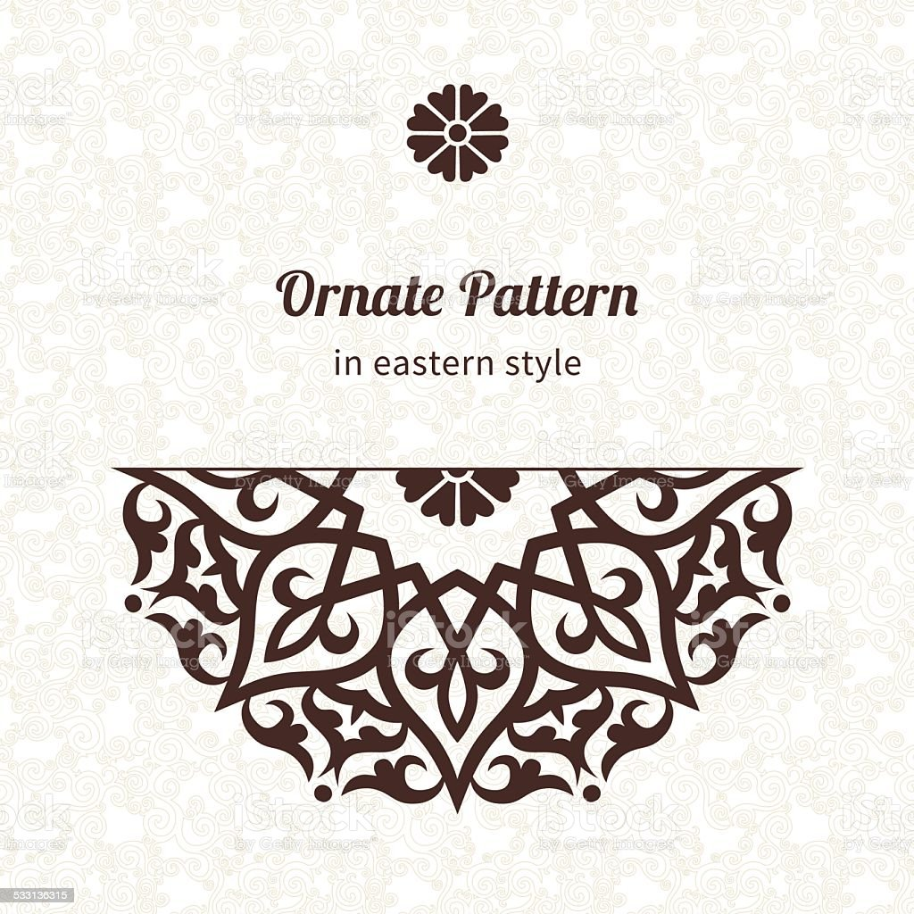 Vector lace pattern in Eastern style on scroll work background. vector art illustration
