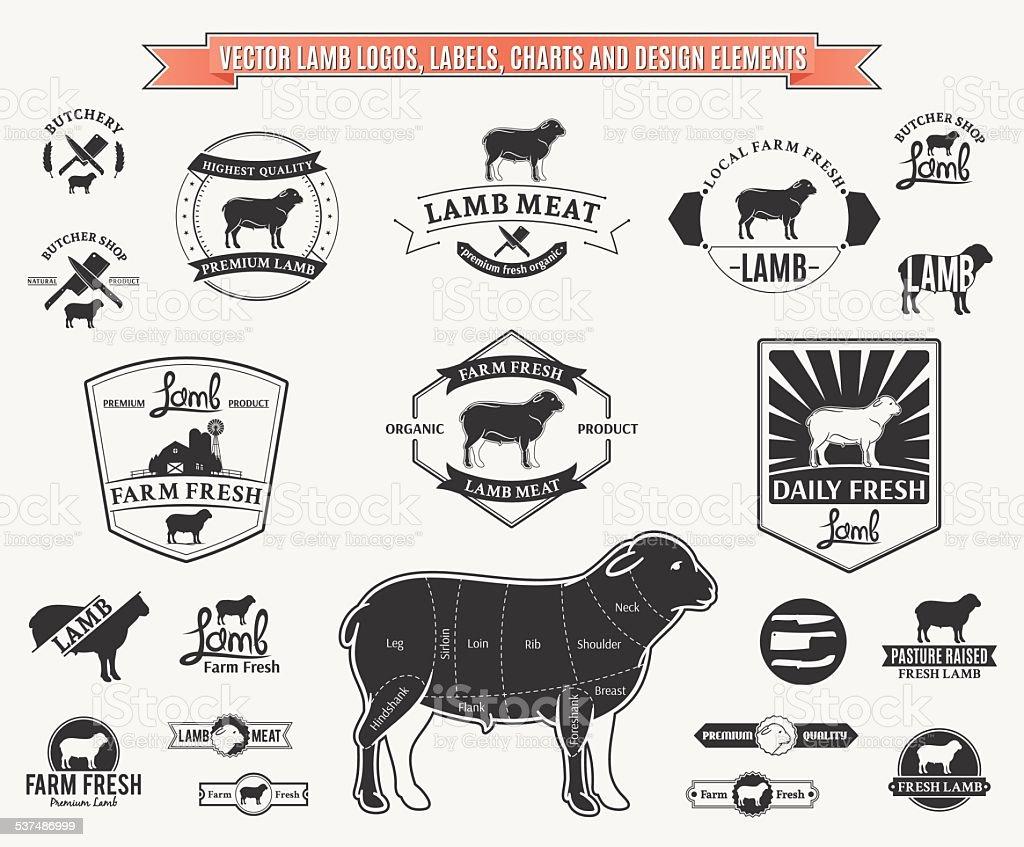 Vector Lamb Logos, Labels, Charts and Design Elements vector art illustration