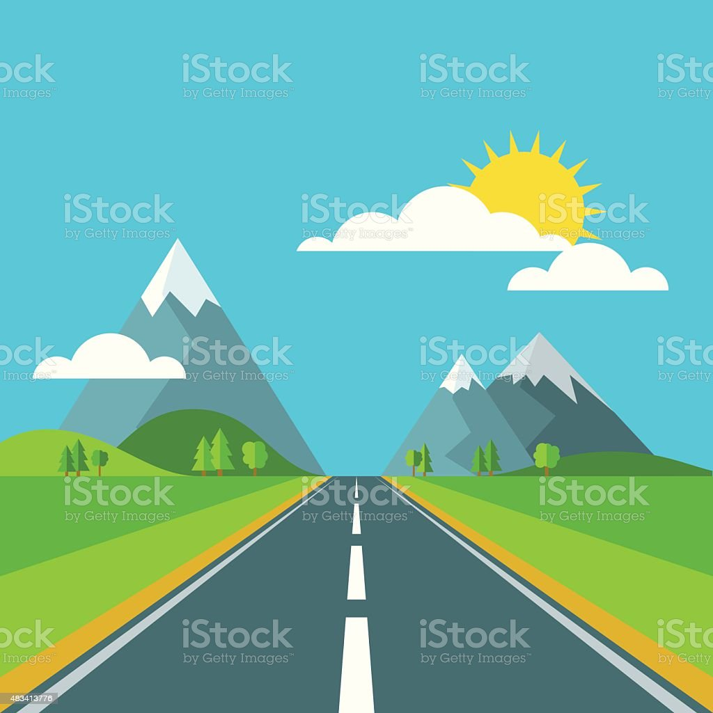 Vector landscape background. Road in green valley, mountains and sky. vector art illustration