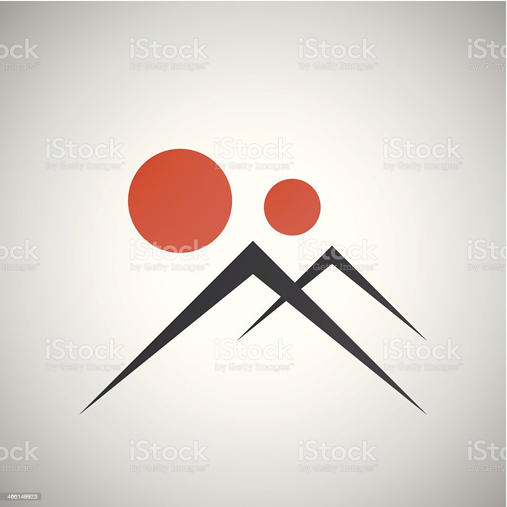 vector landscape mountains and sunset royalty-free stock vector art