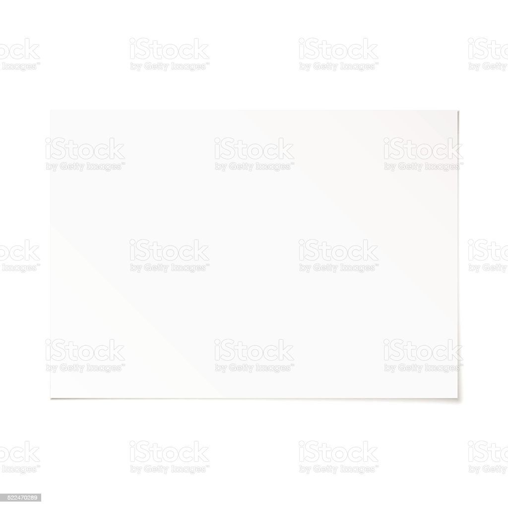 Vector landscape orientation empty A4 white paper with shadow vector art illustration